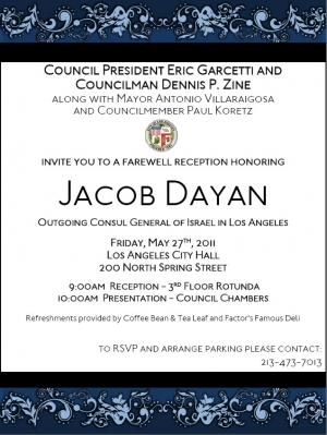 Los Angeles Bids Farewell to Consul General for Israel Jacob Dayan